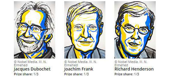 The portraits of the three Nobel laureates for Chemistry 2017.