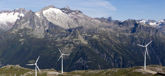 This picture shows wind engines in Switzerland. © Keystone