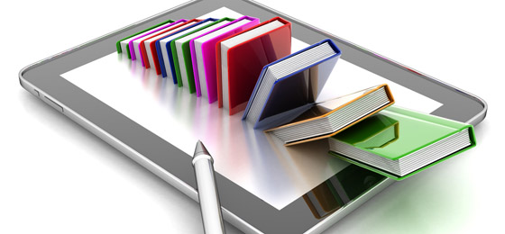 This picture shows a photoshopped image of books protruding from an iPad. © Fotolia