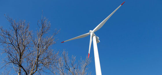This picture shows a wind turbine in Oldis, Haldenstein. © Keystone