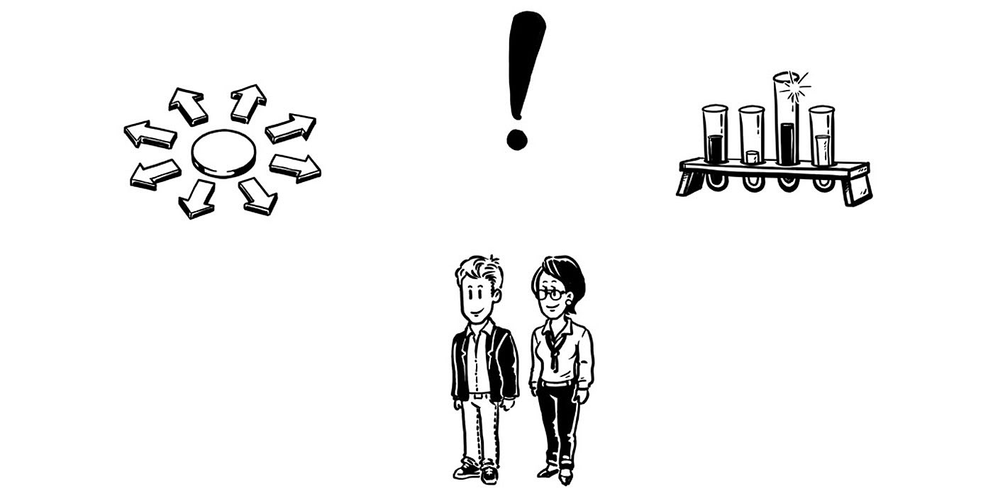 Professor Gerber and Luca Einstein next to each other underneath three pictograms. © SNSF